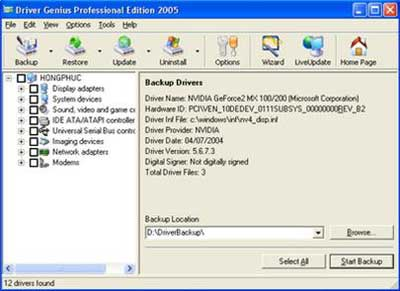 Sao lưu, phục hồi driver bằng Driver Genius Professional Edition 2005