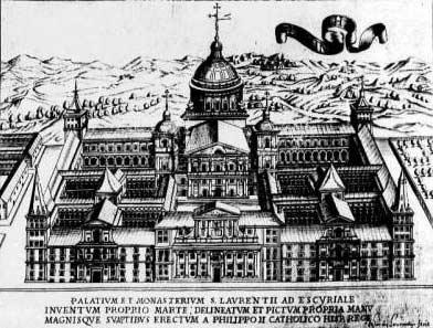 Escorial nhìn từ trên cao qua bản khắc gỗ thể hiện khu phức hợp đa chức năng nhìn từ hướng Tây.