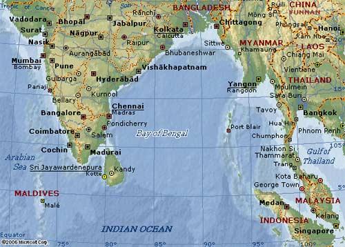 Bản đồ khu vực vịnh Bengal