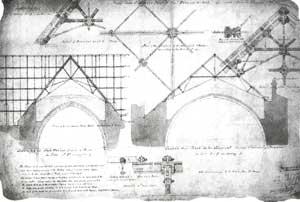 Bản vẽ thi công cho thấy kết cấu của giàn sắt đỡ mái của Đại sảnh St Stephen.