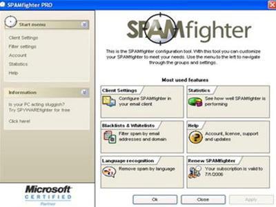 SPAMfighter: tiện ích chống thư rác cho Outlook Express
