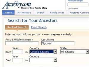 Tìm kiếm người thân trên Wesite dân số Anh - Mỹ