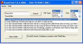 Vunet Find 1.0.4.2006 (VF) – Tìm kiếm tập tin chỉ trong nháy mắt!