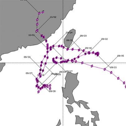 Cơn bão Nat năm 1991 có đường đi phức tạp như thế này!