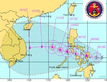 Ngày 10/12, bão Utor sẽ xuống biển Đông