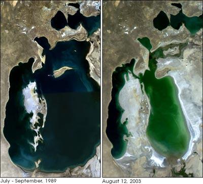 Biển Aral (Liên Xô cũ) 68.000km2 và hiện nay chỉ còn 42.000km2