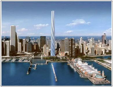 Nhà chọc trời hình xoắn thừng tại Chicago (Mỹ)