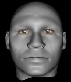 Khuôn mặt chính diện của hình mẫu Adam do máy tính dựng lên