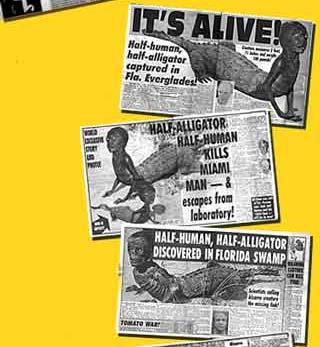 Các bài báo về Người cá sấu trên tuần báo World Weekly News từ năm 1993-1997