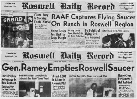 Thông cáo báo chí của AAF trên tờ Roswell Daily Record ngày 8/7/1947