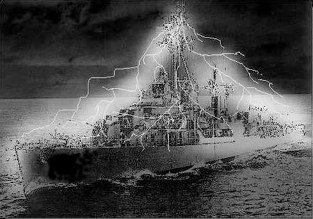 Tàu khu trục USS Eldridge trên vùng biển Philadelphia.