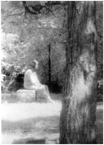 Cô gái ngồi trên mộ