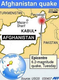 Động đất mạnh tại Afghanistan
