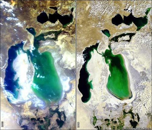 Hình ảnh biển Aral năm 2003 (trái) và năm 2006 (phải)