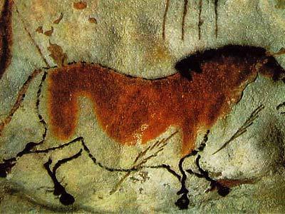 Hình vẽ ngựa hoang trên vách động Lascaux.
