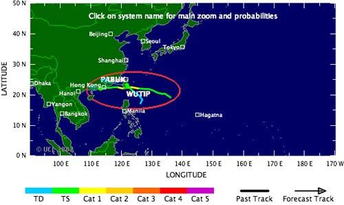 Đường đi của hai cơn bão Pabuk và Wutip.