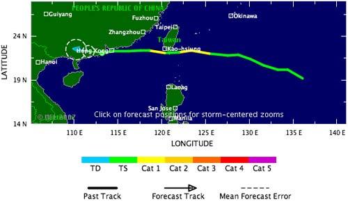 Đường đi của cơn bão Pabuk.