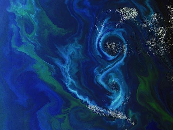 Sinh vật phù du cuộn thành hình số 8 ở nam Đại Tây Dương. Hình ảnh được ghi lại bởi vệ tinh của Cơ quan vũ trụ châu Âu. Sinh vật phù du là mắt xích quan trọng trong chuỗi thức ăn của hệ sinh vật biển.