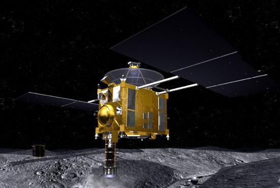 Hình minh họa cảnh tàu Hayabusa đáp xuống thiên thạch Itokawa vào năm 2005 để lấy mẫu vật chất.