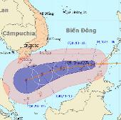 Tâm bão Sonamu cách đảo Trường Sa Lớn 400km