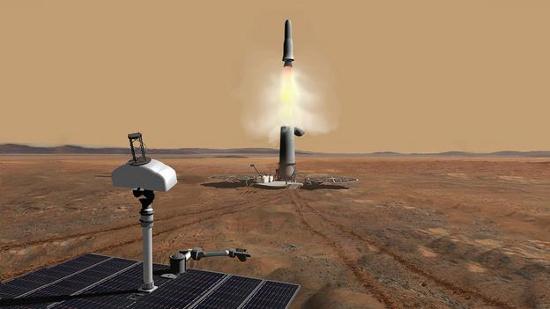Mô phỏng hoạt động phóng tàu đưa đất mẫu từ sao Hỏa về Trái đất.