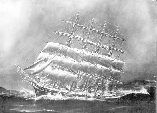 Tàu Kobenhavn chống chọi với sóng dữ.