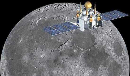 Hình minh họa phi thuyền Luna-Glob của Nga trên quỹ đạo mặt trăng.