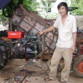Một nông dân chế tạo thành công máy thu hoạch mía