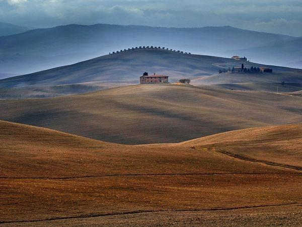 Khung cảnh thảo nguyên mờ ảo trong nắng sớm ở Tuscany, Italia