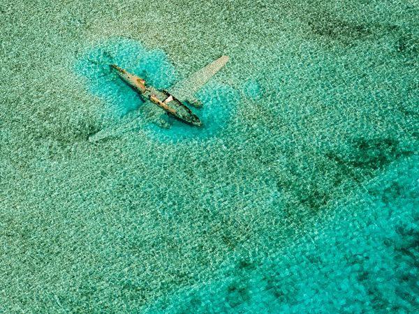Một chiếc máy bay Cessna C172 nằm dưới đáy biển gần hòn đảo Bahamas. Chiếc máy bay bị rơi vào năm 1980 khi đang vận chuyển ma túy trái phép từ Colombia đến Bahamas