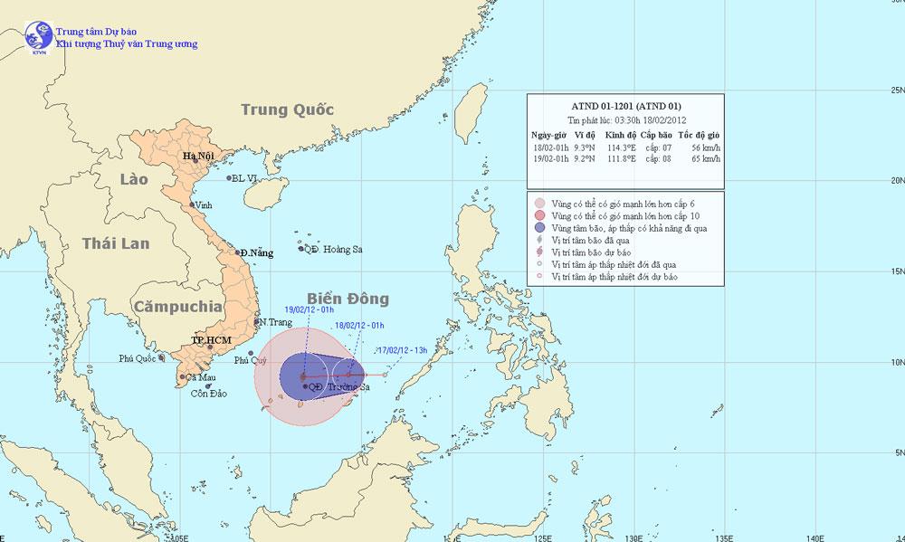 Xuất hiện cơn bão đầu tiên trên Biển Đông