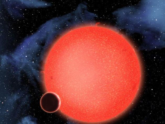 GJ 1214b xoay quanh một ngôi sao lùn đỏ ở khoảng cách hai triệu km.