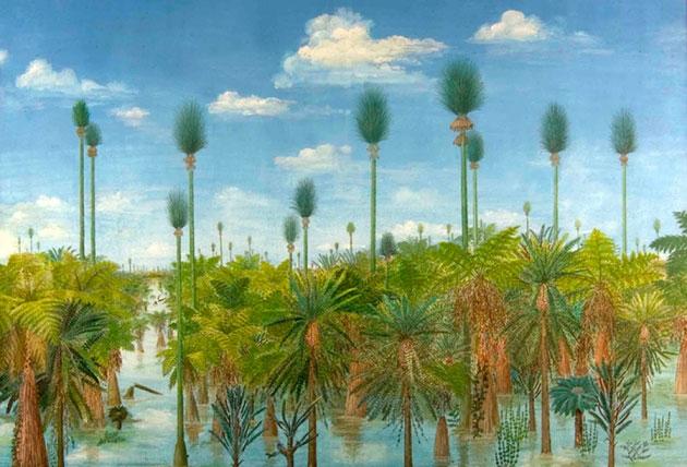 Hình ảnh tái dựng vi tính của cánh rừng 300 triệu năm bị chôn vùi dưới tro núi lửa ở Trung Quốc.