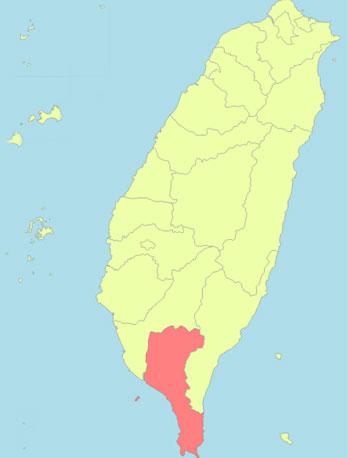 Tâm chấn của trận động đất hôm 26/2 nằm tại huyện Bình Đông (màu đỏ) của đảo Đài Loan.