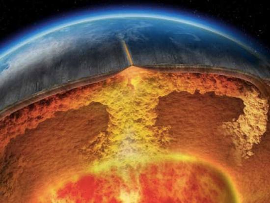 Hình minh họa một siêu núi lửa phun trào từ bên dưới lớp vỏ trái đất.