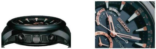 Ở phiên bản Limited Edition (Giới hạn số lượng), phần cạnh chìm của vỏ giúp tiết kiệm trọng lượng và chất liệu titan giúp chịu lực tốt hơn. Seiko Astron nạp năng lượng ánh sáng thông qua mặt số.