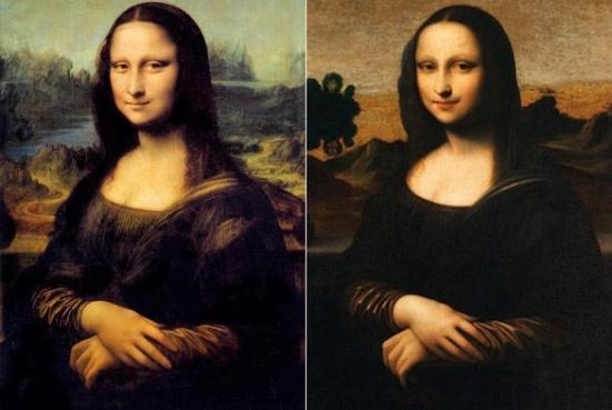 """Bức Mona Lisa (trái) và bản """"gốc"""" đều là tác phẩm của Leonardo da Vinci"""