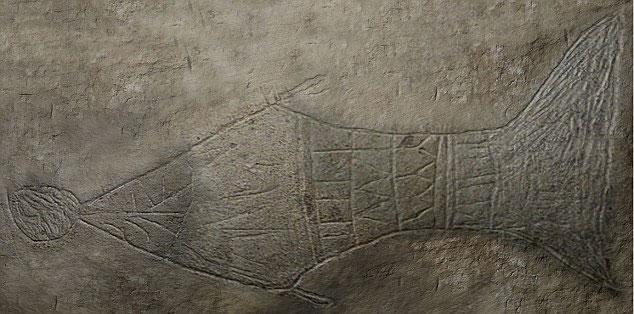 Hình con cá được vẽ trên chiếc quan tài được cho là của Chúa Giêsu.