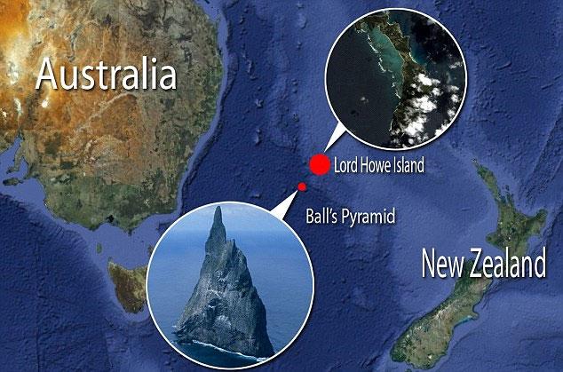 Vị trí của hòn đảo Ball's Pyramid