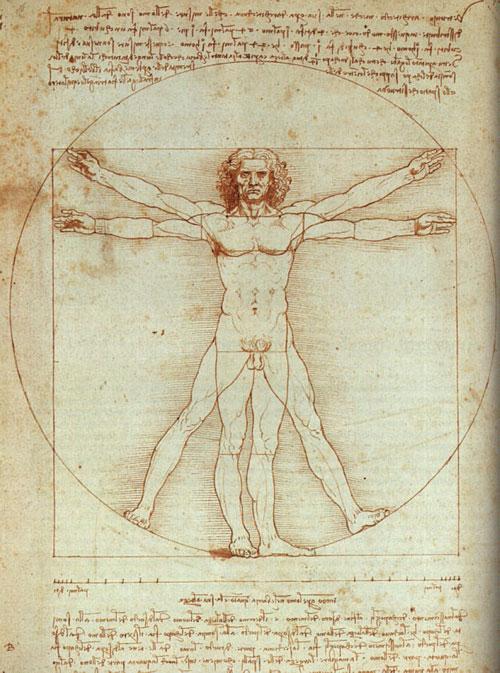 """Bức vẽ """"Người Vitruvius"""" lừng danh của Leonardo da Vinci mô tả một người đàn ông khỏa thân ở hai trạng thái khác nhau (duỗi thẳng chân và dạng chân) nằm trong một hình tròn và hình vuông trùng tâm đối xứng, số đo của người đàn ông tuân theo một tỷ lệ được Leonardo quy ước và ghi chép phía dưới hình vẽ."""
