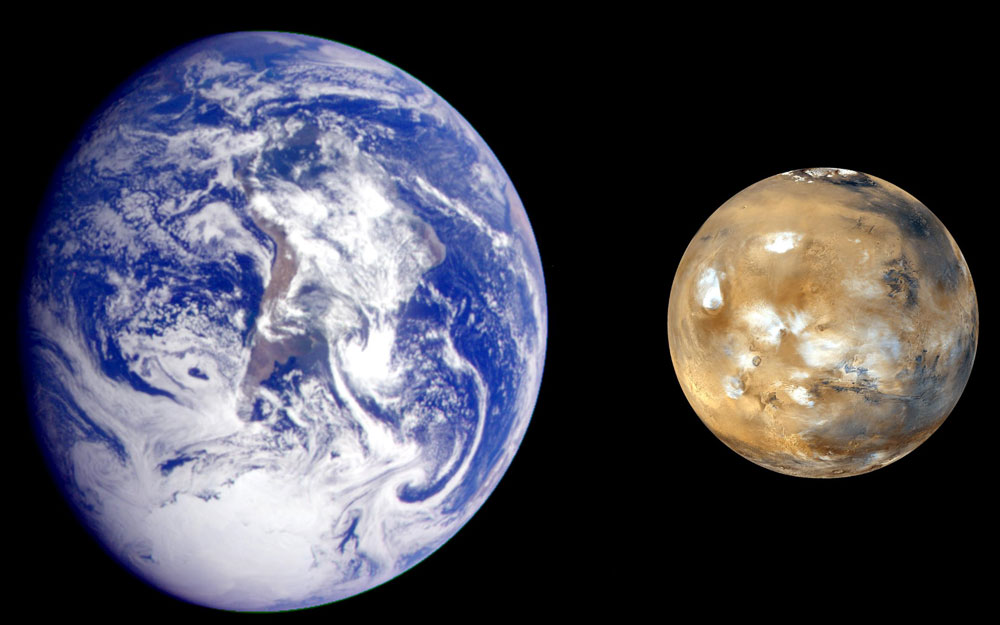 Hình minh họa sao Hỏa và địa cầu.