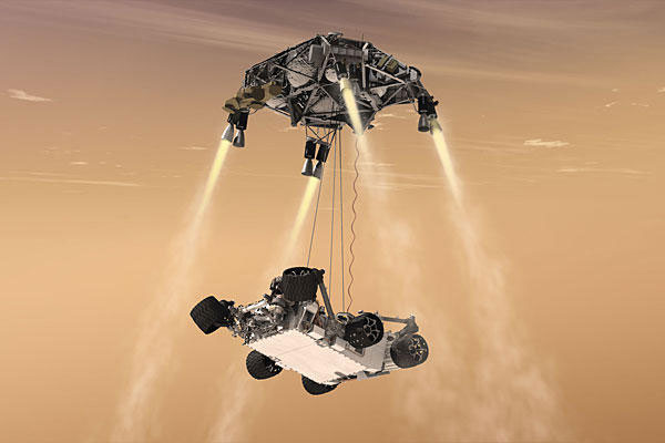 Nhiệm vụ của Sky Crane là phát động tên lửa ngược chiều rơi để Curiosity hạ cánh một cách êm ái