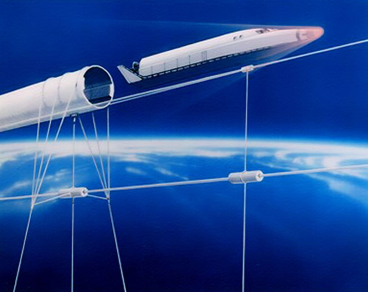 Startram là một loại tàu đệm từ được dẫn lái bởi bởi các dây cáp siêu dẫn được giữ trong không trung nhờ lực từ.