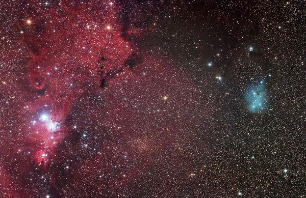 Tinh vân IC 2169 xuất hiện như một đám mây hồng lãng mạn hôm 10/3. Bức ảnh được chụp lại bởi đài quan sát New Forest, Anh