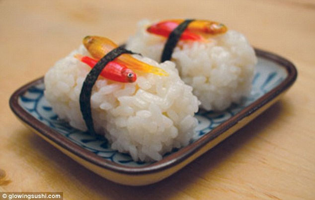 Món sushi phát quang trong đêm.