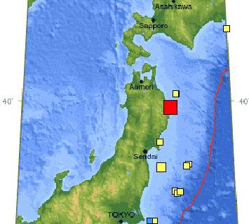 Động đất mạnh tại đông bắc Nhật Bản
