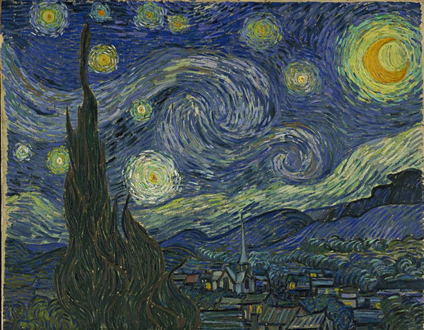 """Bức họa nổi tiếng """"The Starry Night"""" của danh họa người Hà Lan van Gogh"""