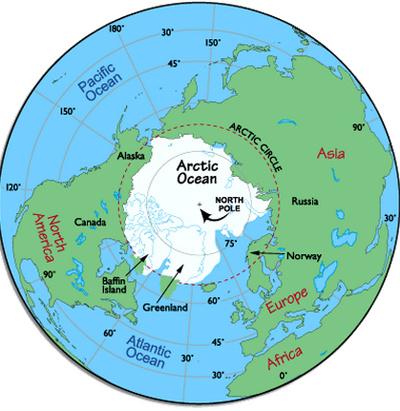 Quãng đường và thời gian di chuyển từ Thái Bình Dương và Đại Tây Dương  của các tàu biển sẽ giảm mạnh nếu chúng vượt qua Bắc Băng Dương.