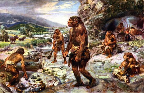 Hình minh họa cuộc sống của một nhóm người nguyên thủy.