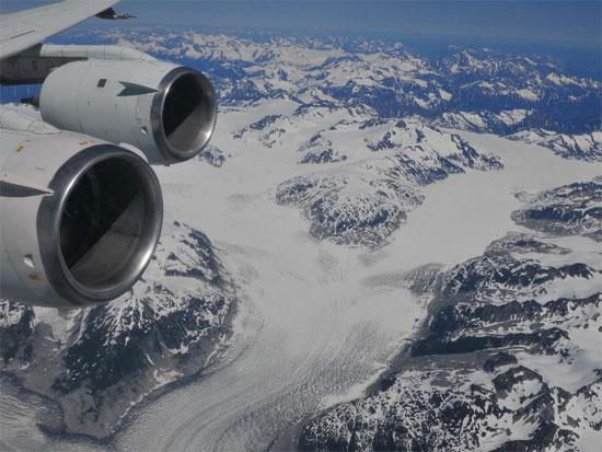Sông băng British Columbia (Canada) chụp từ máy bay.